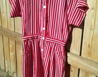 70s collared candy stripe dress with pockets