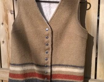70s WHITESTAG southwestern button down wool vest with furry interior and fringe L