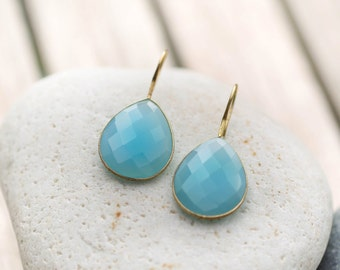 Blue Chalcedony Earrings - Blue Gemstone Earrings - Blue Earrings - Faceted Chalcedony Earrings - Light Blue Dangle Earrings