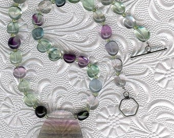Over the Rainbow - Rainbow Fluorite, Peridot, Sterling Silver Necklace