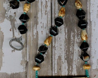 Monumental - African Queen Picture Jasper, Smoky Quartz, Turquoise, Sterling Silver Necklace