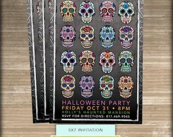 5x7 Halloween Party Invitation // Sugar Skull // Halloween Invitation // Printable