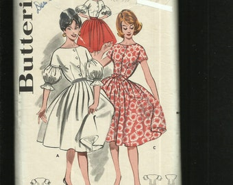1960's Butterick 9573 Rockabilly Skirt & Lantern Sleeves Size 12