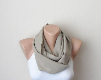 cream infinity scarf  brown somon cotton fabric loop scarf