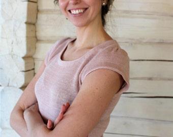 Handmade Knit Short-sleeve Linen Top