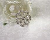 5 Large Flower Rhinestone Embellishment -  Flatback Button -  Wedding Invitation Cards - Brooch Bouquet Jewelry Supplies