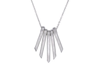 Bar Necklace, Vertical silver, Silver Fringe Necklace, Bib Silver Necklace, Tiny Necklace, Fringe Pendant, Handmade Jewelry, Sister Gift