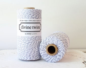 Gray Bakers Twine, Divine Twine Gray & White Bakers Twine, 240 Yards, Bakers Twine, Gray Twine, Party Supplies, Gifts, Weddings