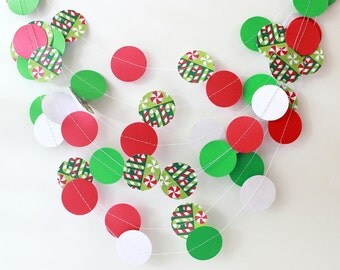 Christmas Garland, Christmas Paper Garland, Wedding Garland, Holiday Garland Decor, Christmas Party Garland, Photo Prop, Playroom Decoration