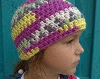 crochet Hat [sara, child size 5-6-7 years]