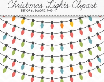 christmas lights clipart set of 6 instant download digital banner christmas string lights - Digital Christmas Lights