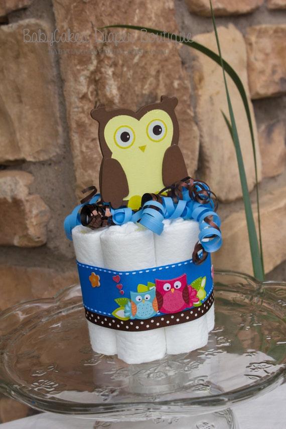 Owl Diaper Cake Centerpiece   Owl Baby Shower Decoration   Diaper Cake   Owl Baby Shower   Baby Shower Gift   Owl Diaper Cake   It's a Boy