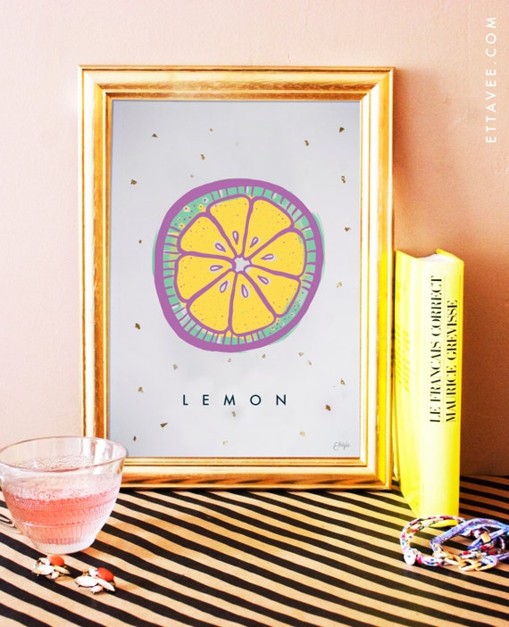 Lemon / Citron illustrated digital print poster with gold leaf flakes