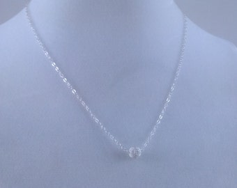 Tiny Sterling Silver Stardust Ball Necklace - Sterling Silver Chain