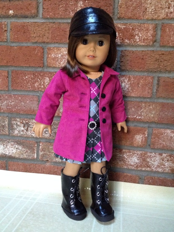 American Girl doll clothes - Le Marais Coat, Cadet hat, Dress and Boots
