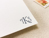 Letterpress Monogram Personalized Stationery, Set of 25, initials, note cards, anniversary, thank you, wedding, gift, bridesmaid, coworker