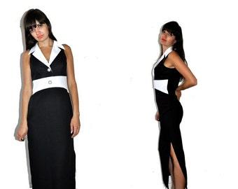SALE___Vintage 90's Black and White Long Maxi Dress