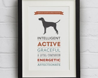 German Shorthaired Pointer Dog Breed Traits Print - GSP Gift