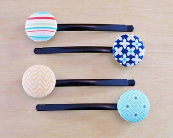 Blue Diamonds, Orange Chevron, Multiple Colored Stripes and Blue & Yellow Flowers Button Bobby Pins