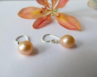 Freshwater Pearl Earrings, Teardrop Earrings, June Birthstone Earrings, 30th Wedding Anniversary Earrings, Peach Sterling Silver Earrings