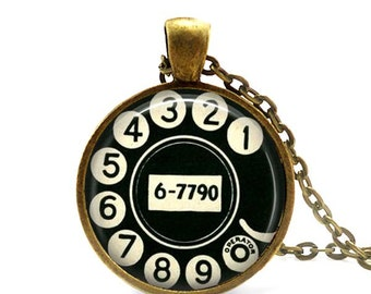 Rotary dial necklace Vintage telephone dial Retro phone pendant Black and white  jewelry.