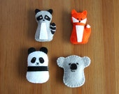 DIY Felt Ornaments Pattern Gift Topper Panda, Koala, Fox & Raccoon PDF Sewing Tutorial, Felt Toys Favors or Baby Animal Stocking Stuffers