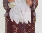 INO Schaller Santa Dark Red Gold Trim 10.6 Inches style# 0836