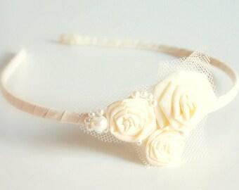 Wedding headband/ bridesmaid/ flower girl/ rosette hair band/ avory/ handmade/ baby girls/ hair accessories/ ceremony