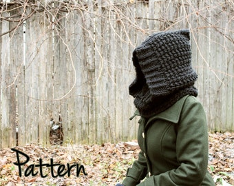 Crochet Pattern Hood Cowl Womens Woman Winter Textured  PDF Tutorial Download Comfy Teen/Adult