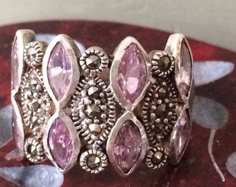 Sterling Marcasite and CZ dress ring size 9