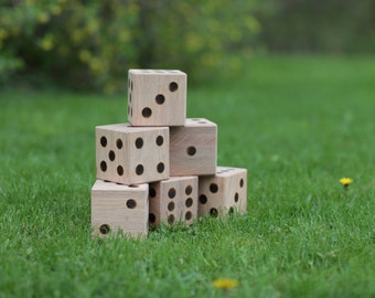 Oak Giant Yard Dice Set of 6 Lawn Dice Outdoor Games Farkle Yatzee Oak Blocks
