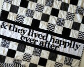 Quilt- Wedding quilt- From SewEMG- The Original Personalized Signature Wedding Quilt-  Black White wedding Quilt- Happily Ever