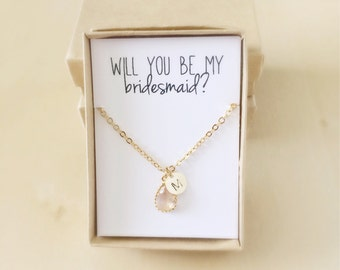 Personalized Bridesmaids Gifts- Will You Be My Bridesmaid Proposal- Peach Initial Necklace- Maid of Honor Flower Girl Proposal