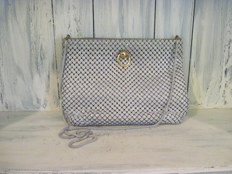 vintage la regale gray color metal mesh purse hand made in. Black Bedroom Furniture Sets. Home Design Ideas