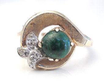 Yellow Gold Jade and Diamond Ring - Florentine Finish