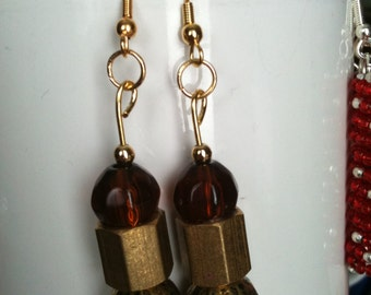 Gold Beads, Solid Brass Nuts & Amber Faceted Beaded Earrings, on gold (#272)