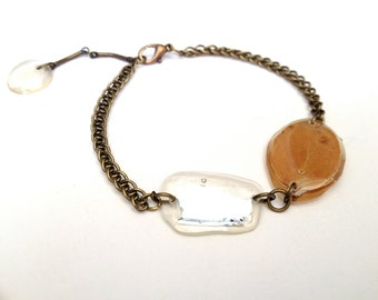 Mirror and Yellow Manzanita leaf antiqued brass bracelet