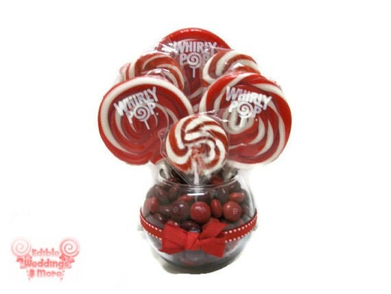 Small red lollipop centerpiece wedding by keepitcandy