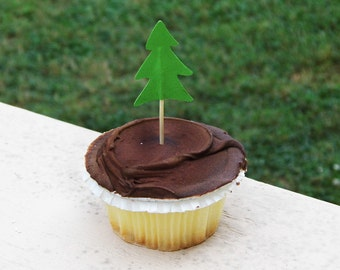 12 Christmas Tree Cupcake Toppers