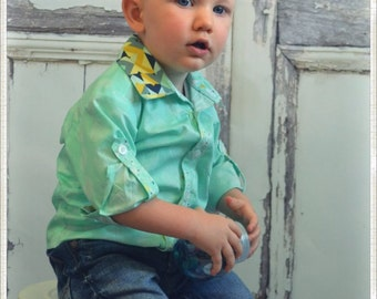 Boys Button Up Shirt - George - Retro Inspired - Toddler/Infant/Little Boys Clothing - Size 0-3months to 8 years