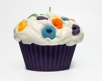 Jumbo Froot Loop Scented Cupcake Candle