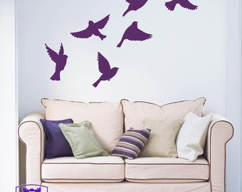 Small Flock of Birds in Flight Wall Decal Decor
