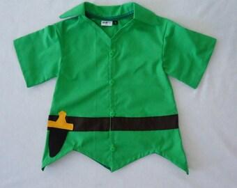 Peter Pan Top - Peter Pan Costume - Neverland - Birthday Costume-Disney Cruise- Halloween Outfit- Peter Pan Costume - 12M to 7Years