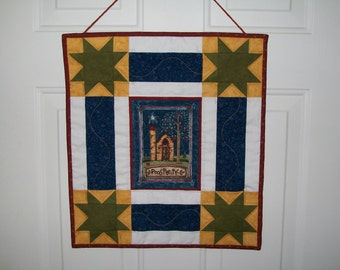 Patriotic wall hanging -  prosperity door hanger -  red white blue summer wall quilt - 4th of July - Memorial Day