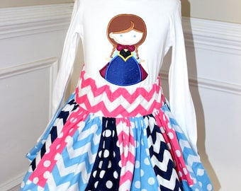 Frozen Anna outfit Anna Birthday outfit girl skirt blue, navy and pink chevron polka dot clothing chevron skirt Frozen Anna