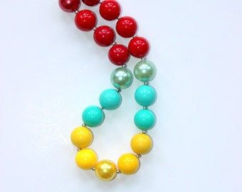 chunky bubblegum necklace in poppy red yellow and aqua bead necklace for girls birthday necklace flower girl wedding necklace beaded