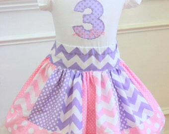 chevron skirt ONLY pink purple chevron and polkadot skirt birthday skirt girls skirt girl skirt toddler skirt spring outfit doc mcstuffins