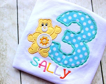 care bear birthday top birthday shirt birthday number funshine bear birthday shirt set outfit clothing girl toddler birthday