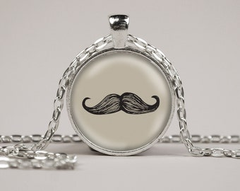 Mustache Art Print Pendant Necklace or Keyring Glass Jewelry Charm Gifts for Her or Him Hipster