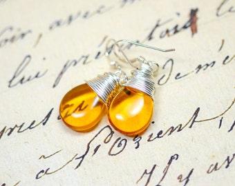 Set of 6 Honey Yellow Bridesmaids Earrings, Amber Bridesmaid Jewelry, Yellow Wedding Jewelry